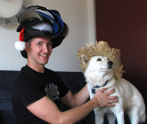 Rob Jagnow and Juno.  With hats.  Lots of hats.